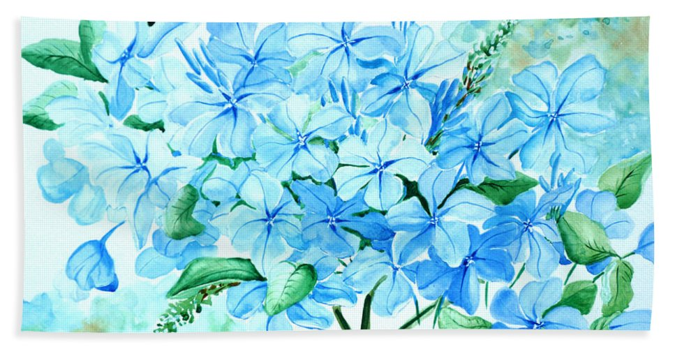 Floral Blue Painting Plumbago Painting Flower Painting Botanical Painting Bloom Blue Painting Bath Towel featuring the painting Plumbago by Karin Dawn Kelshall- Best