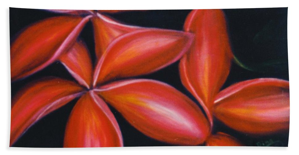 Floral Bath Sheet featuring the painting Plumeria Rouge by Dina Holland