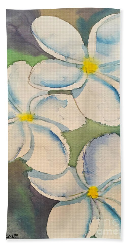 Tropical Hand Towel featuring the painting Plumeria by Teresa Ascone