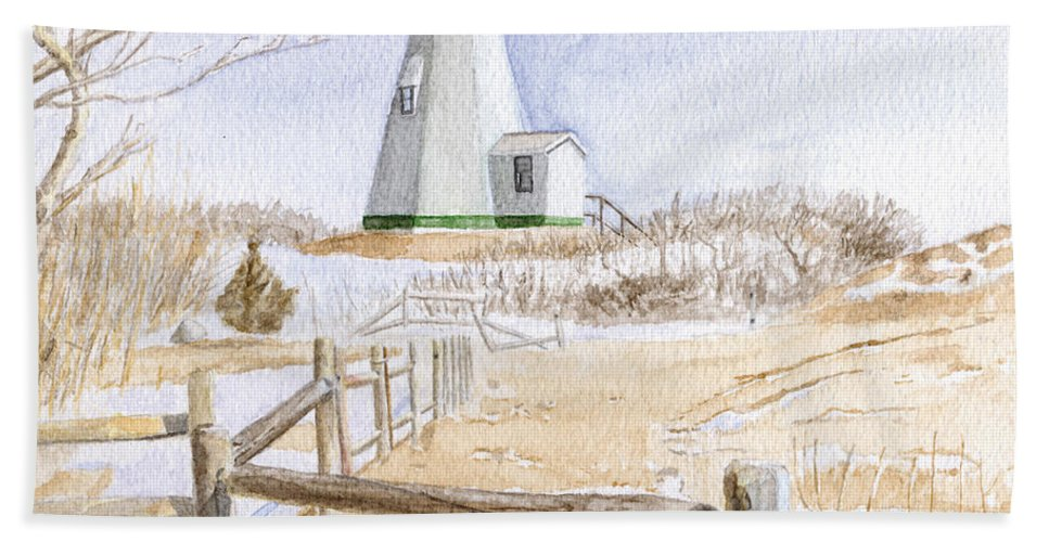 Lighthosue Hand Towel featuring the painting Plymouth Light In Winter by Dominic White
