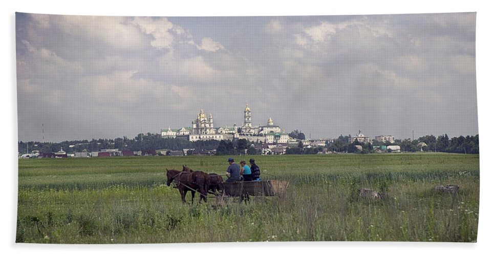 Ukraine Bath Sheet featuring the photograph Pochaiv Monastery Ukraine by Yuri Lev