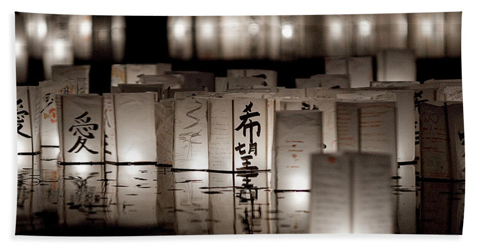 Lanterns Hand Towel featuring the photograph Poetry In Motion by Greg Fortier