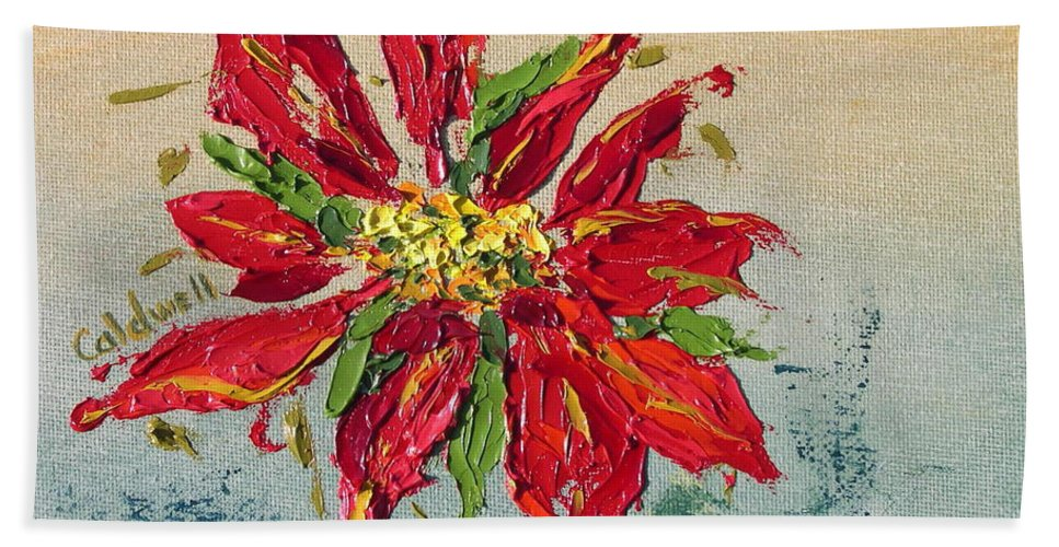 Red Flower Christmas Holiday Green Hand Towel featuring the painting Poinsettia by Patricia Caldwell