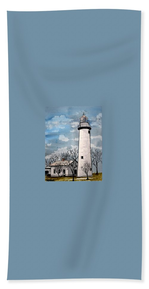 Lighthouse Painting Bath Sheet featuring the painting Point Aux Barques Lighthouse by Derek Mccrea