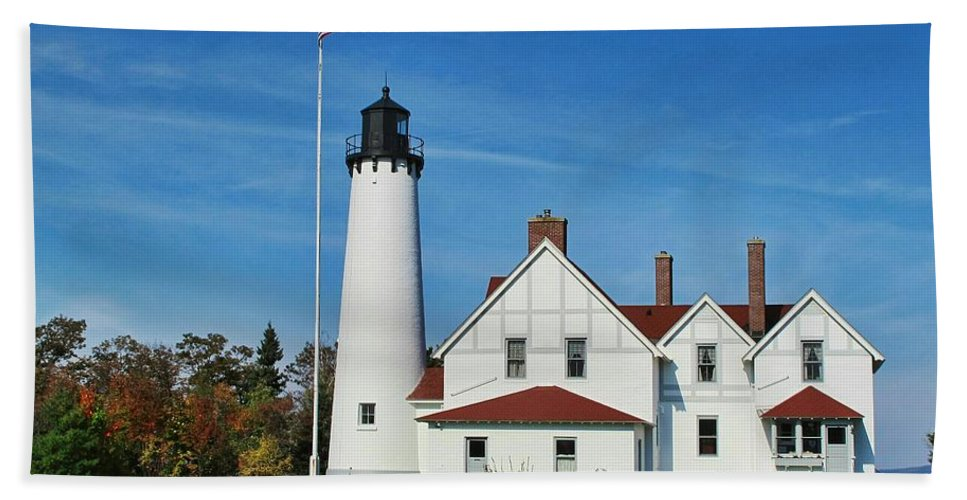 Point Iroquois Lighthouse Hand Towel featuring the photograph Point Iroquois by Pat Cook
