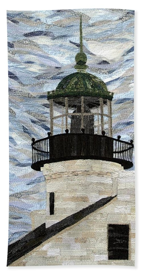 Lighthouse Hand Towel featuring the tapestry - textile Point Loma Lighthouse by Loretta Alvarado