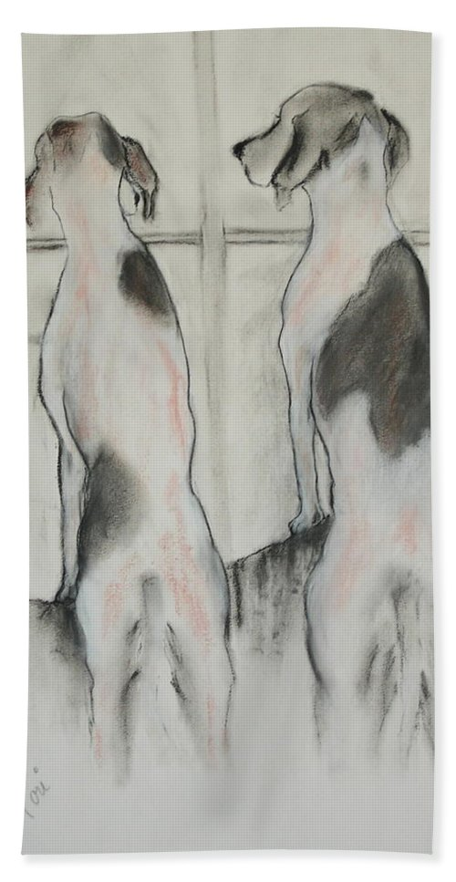 Pastel Hand Towel featuring the drawing Point Of View by Cori Solomon