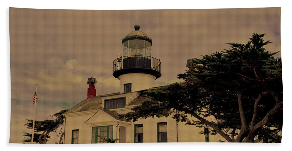 Pacific Grove Light House Antiqued Hand Towel featuring the photograph Point Pinos Lighthouse Antiqued by Barbara Snyder