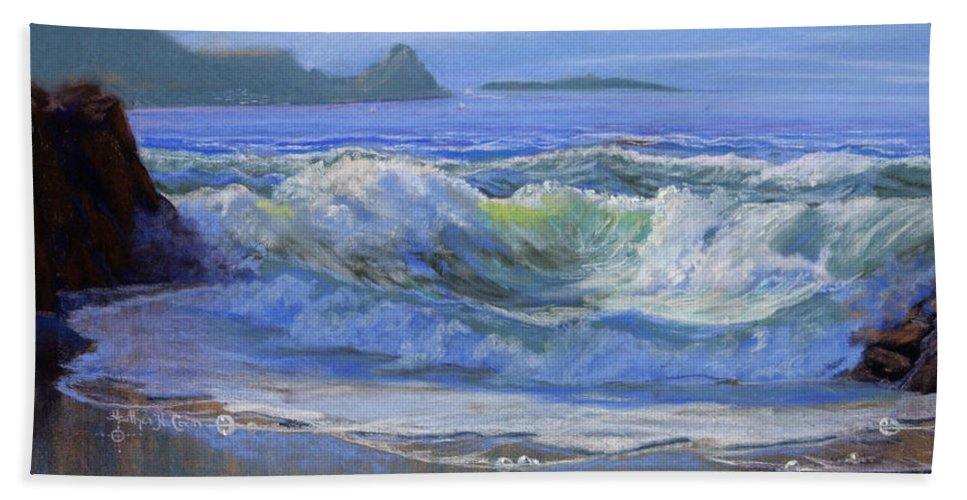 Seascape Hand Towel featuring the painting Point Reyes by Heather Coen