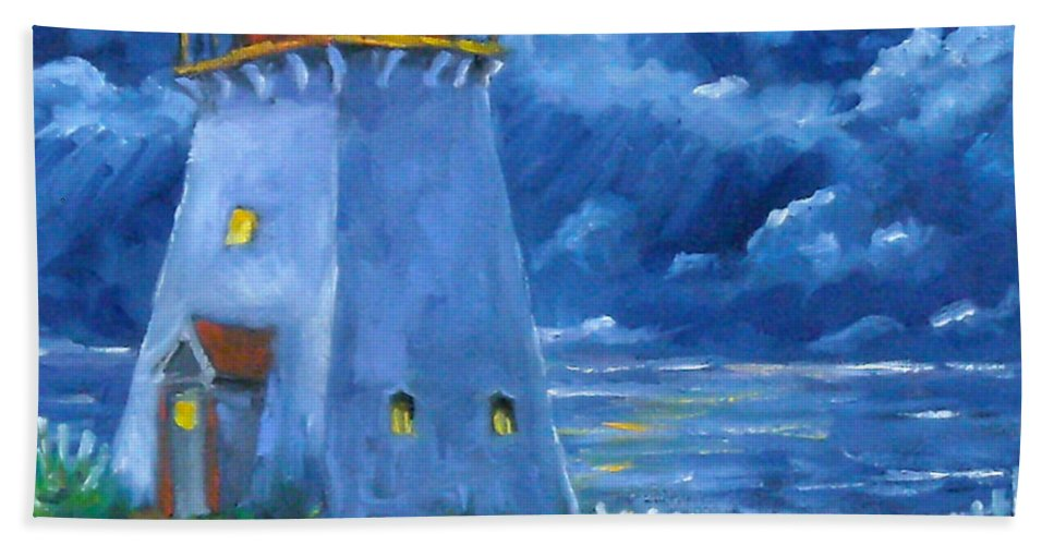 Art Bath Towel featuring the painting Pointe Bonaventure by Richard T Pranke