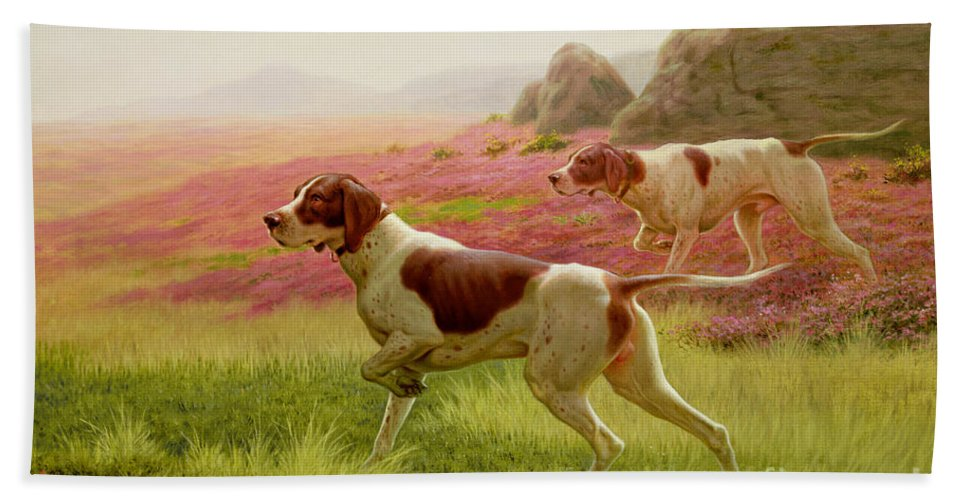 Hunting Hand Towel featuring the painting Pointers In A Landscape by Harrington Bird