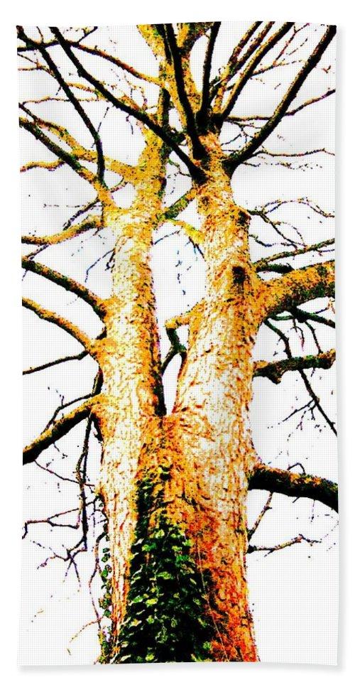 Digital Bath Sheet featuring the mixed media Pointillised Tree by Julia Woodman