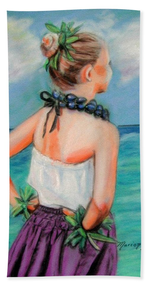 Hula Dance Hand Towel featuring the painting Poipu Hula by Marionette Taboniar
