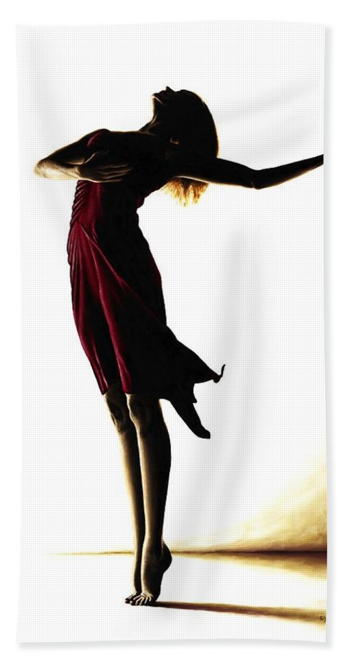 Ballet Bath Sheet featuring the painting Poise In Silhouette by Richard Young
