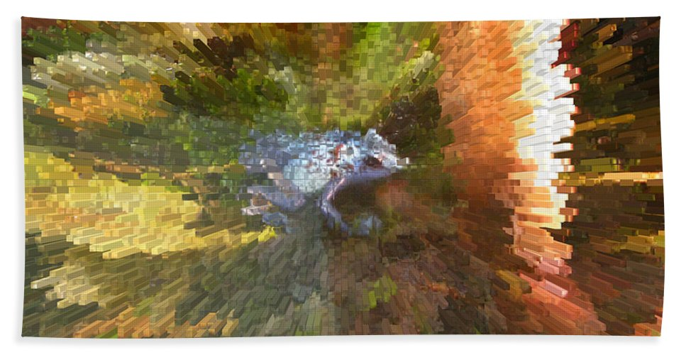 Frog. Blue Bath Sheet featuring the digital art Poison Blue Dart Frog by Donna Brown