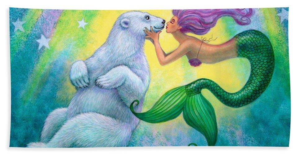 Mermaids Bath Sheet featuring the painting Polar Bear Kiss by Sue Halstenberg