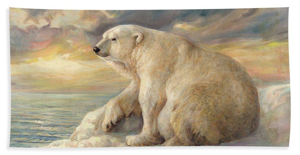 Polar Bear Bath Towel featuring the painting Polar Bear Rests On The Ice - Arctic Alaska by Svitozar Nenyuk