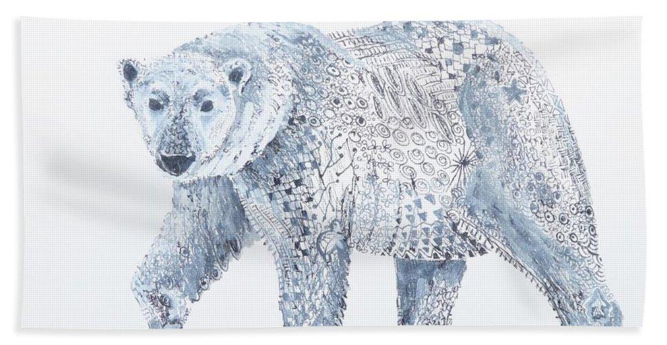 Bear Bath Sheet featuring the painting Polar Bear by Yvonne Ankerman