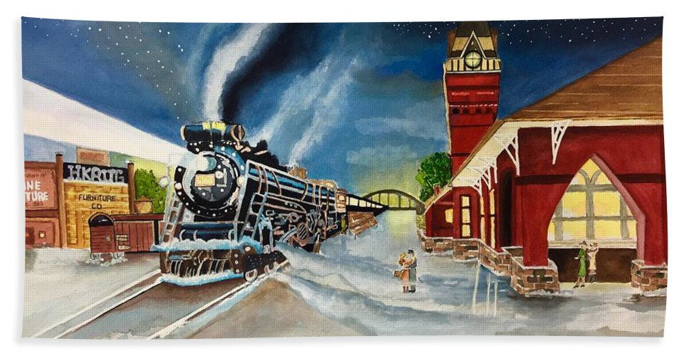 Train Bath Sheet featuring the painting Polar Express by Sharon Reed