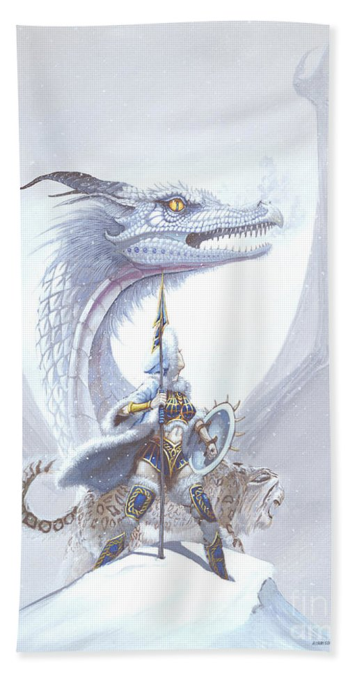 Dragon Hand Towel featuring the painting Polar Princess by Stanley Morrison