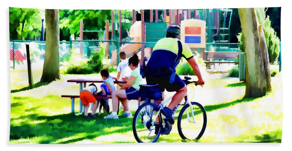 Police Officer Rides A Bicycle Bath Sheet featuring the painting Police Officer Rides A Bicycle by Jeelan Clark