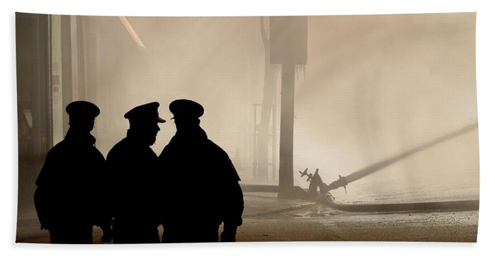 Three Hand Towel featuring the digital art Police Watching Firefighters During Moose Jaw New Years Fire by Mark Duffy