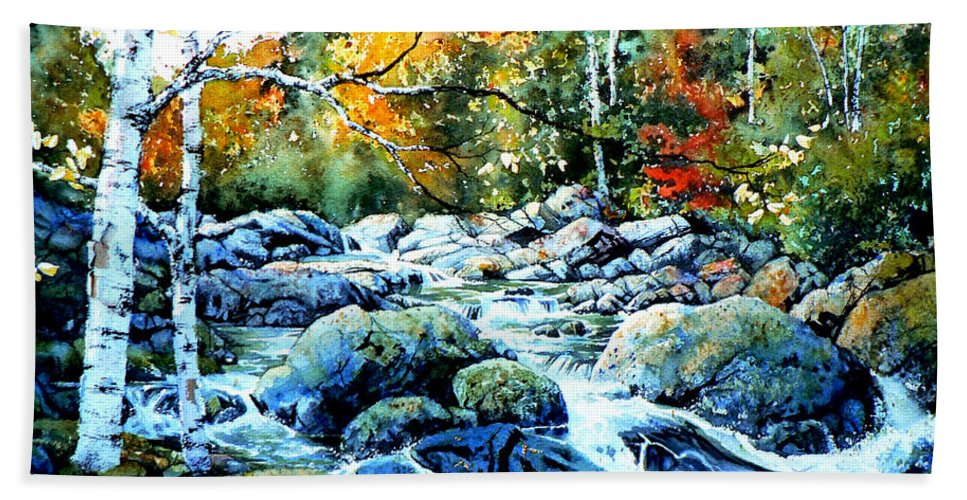 Landscape Bath Sheet featuring the painting Polliwog Clearing by Hanne Lore Koehler