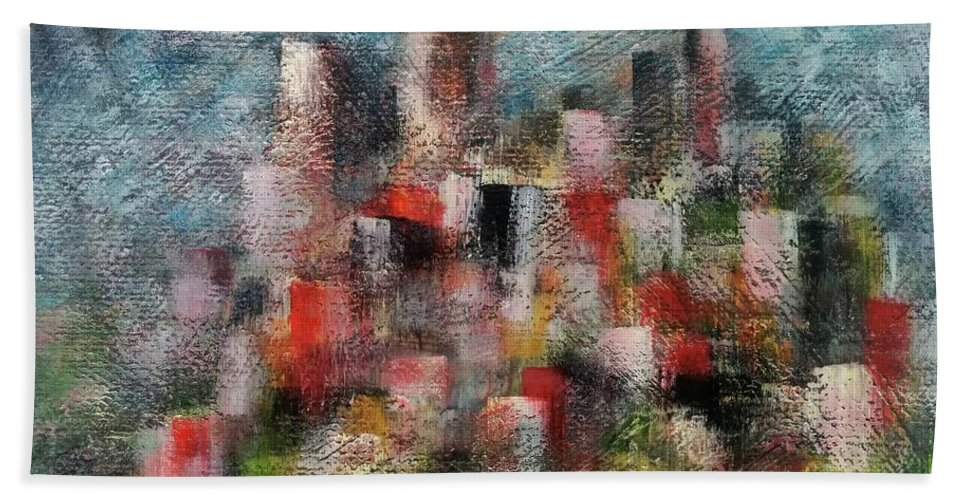 Hand Towel featuring the painting Pollution by Anthony Camilleri