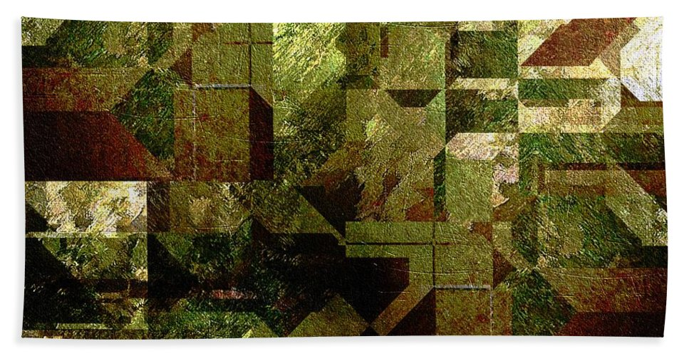 Abstract Hand Towel featuring the painting Pollution by RC DeWinter