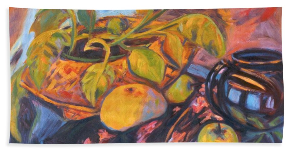Still Life Bath Towel featuring the painting Pollys Plant by Kendall Kessler