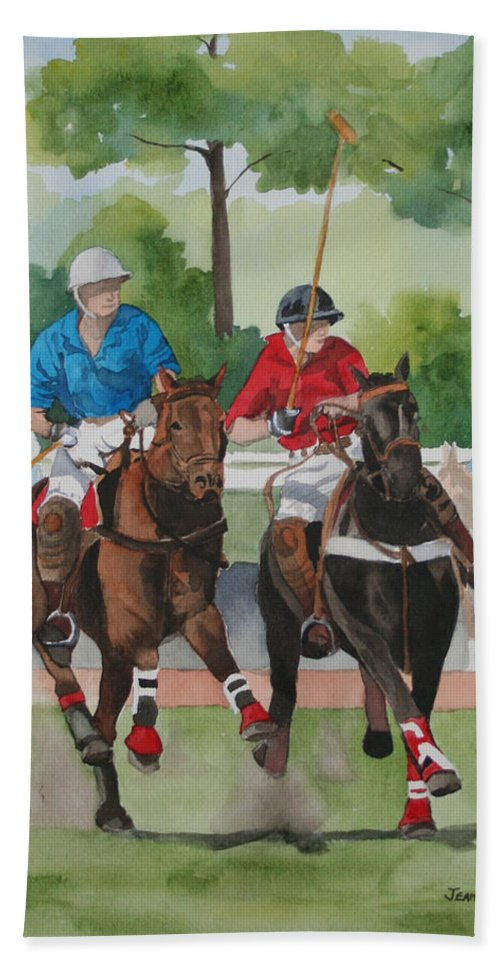 Polo Bath Towel featuring the painting Polo In The Afternoon 2 by Jean Blackmer