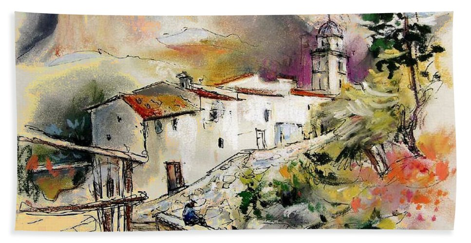 Pastel Painting Bath Sheet featuring the painting Polop de La Marina 01 by Miki De Goodaboom