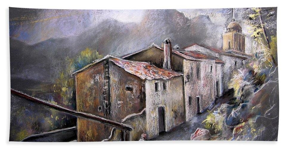 Pastel Painting Bath Sheet featuring the painting Polop de La Marina 03 by Miki De Goodaboom
