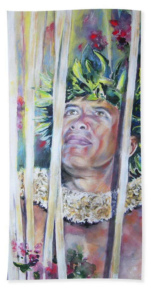 Polynesia Hand Towel featuring the painting Polynesian Maori Warrior With Spears by Miki De Goodaboom