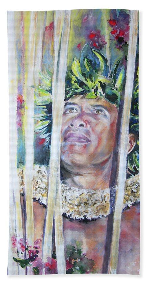 Polynesia Bath Sheet featuring the painting Polynesian Maori Warrior With Spears by Miki De Goodaboom