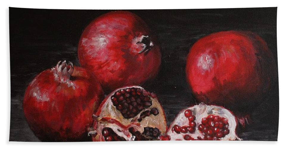 Still Life Bath Sheet featuring the painting Pomegranates by Margaret Storey