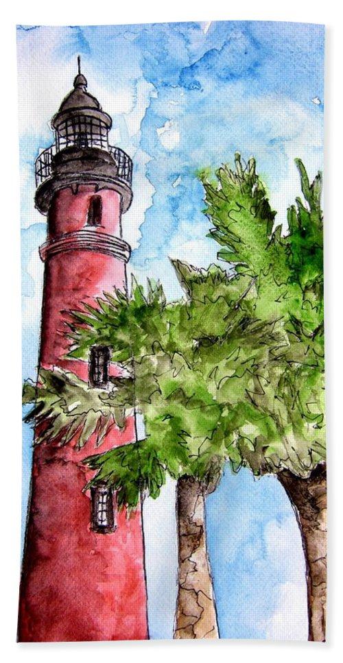 Ponce De Leon Bath Sheet featuring the painting Ponce De Leon Inlet Florida Lighthouse Art by Derek Mccrea