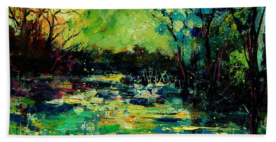 Pond Bath Sheet featuring the painting Pond 560120 by Pol Ledent