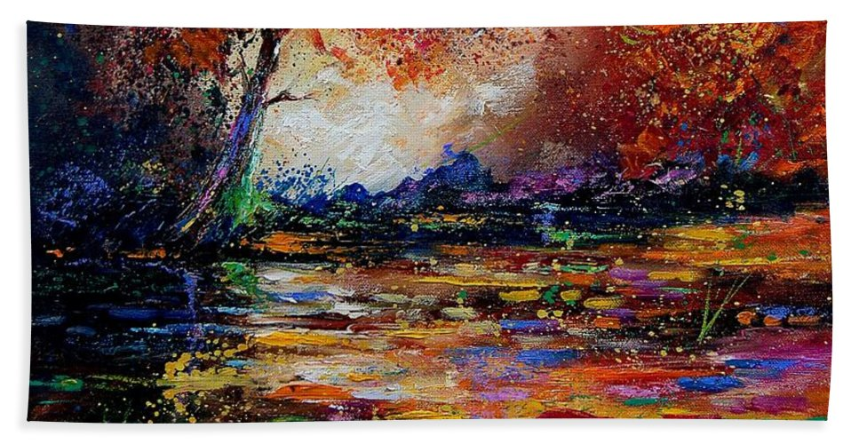 River Hand Towel featuring the painting Pond 671254 by Pol Ledent