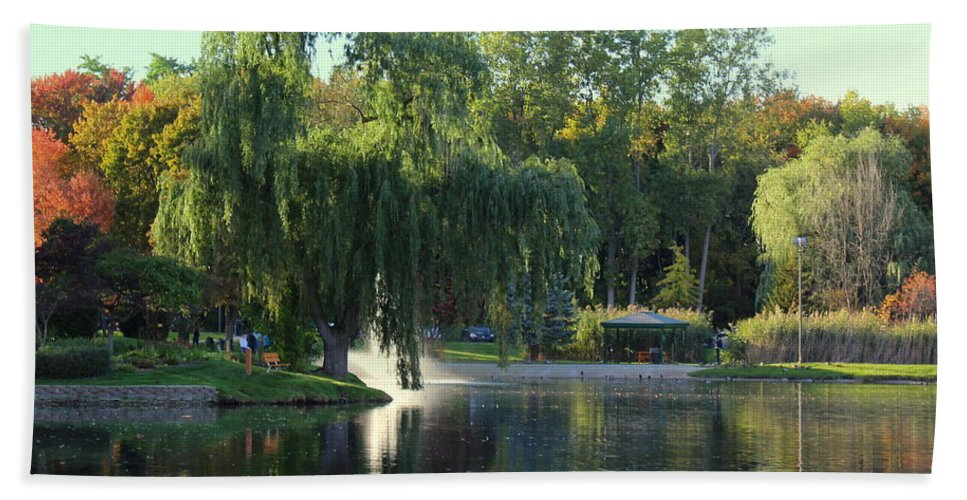 Fall Hand Towel featuring the photograph Pond At Mae Stecker Park In Shelby Township Mi by Anita Hiltz