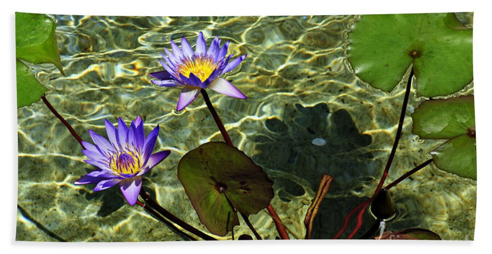 Clay Hand Towel featuring the photograph Pond Florals by Clayton Bruster