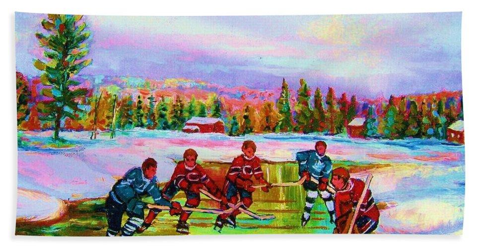 Hockey Hand Towel featuring the painting Pond Hockey Blue Skies by Carole Spandau