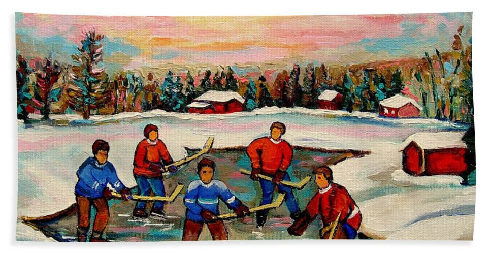 Montreal Bath Sheet featuring the painting Pond Hockey Countryscene by Carole Spandau