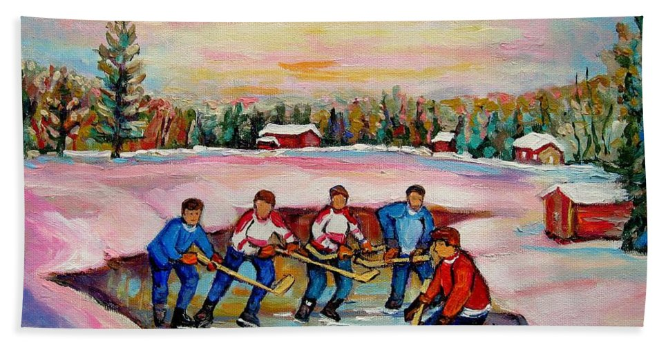 Pond Hockey Hand Towel featuring the painting Pond Hockey Warm Day by Carole Spandau