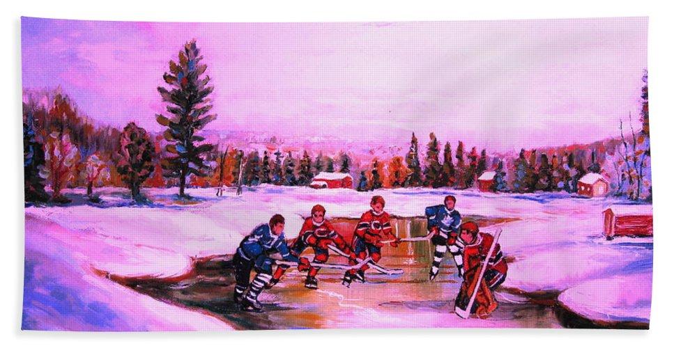 Hockey Bath Towel featuring the painting Pond Hockey Warm Skies by Carole Spandau