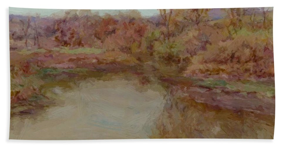 Pond Hand Towel featuring the painting Pond In Early Autumn by Reid Robert Lewis