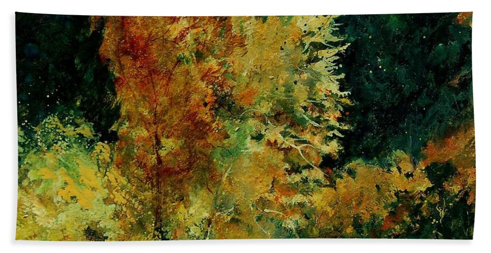 Landscape Bath Towel featuring the painting Pond In Fenffe by Pol Ledent
