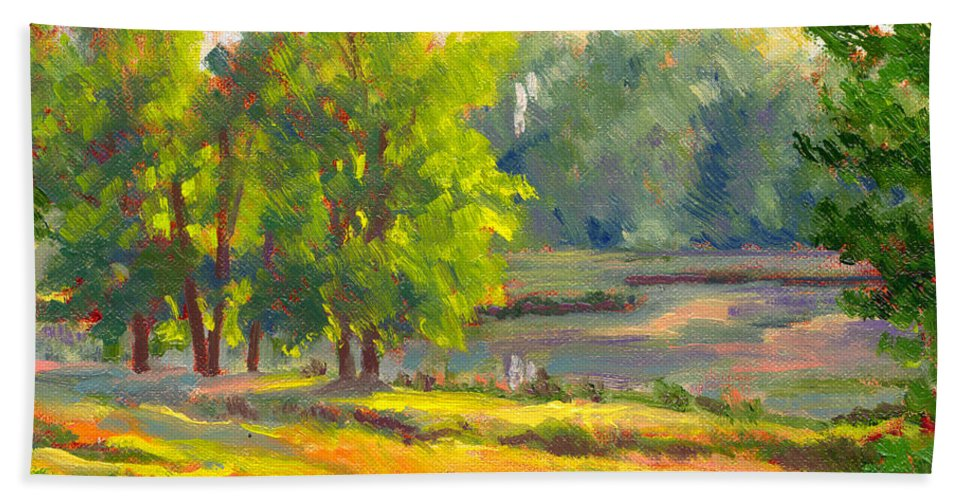 Impressionism Hand Towel featuring the painting Pond In Morning Light by Keith Burgess