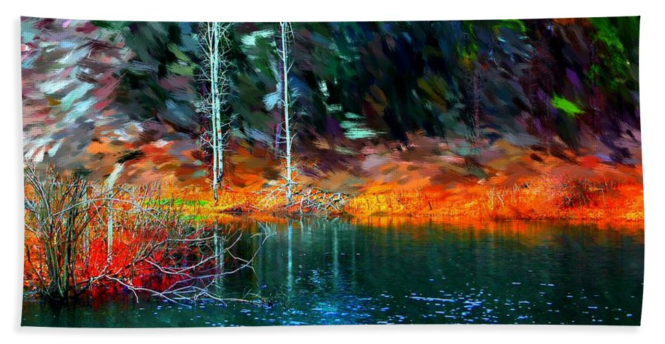 Digital Photograph Bath Sheet featuring the photograph Pond In The Woods by David Lane