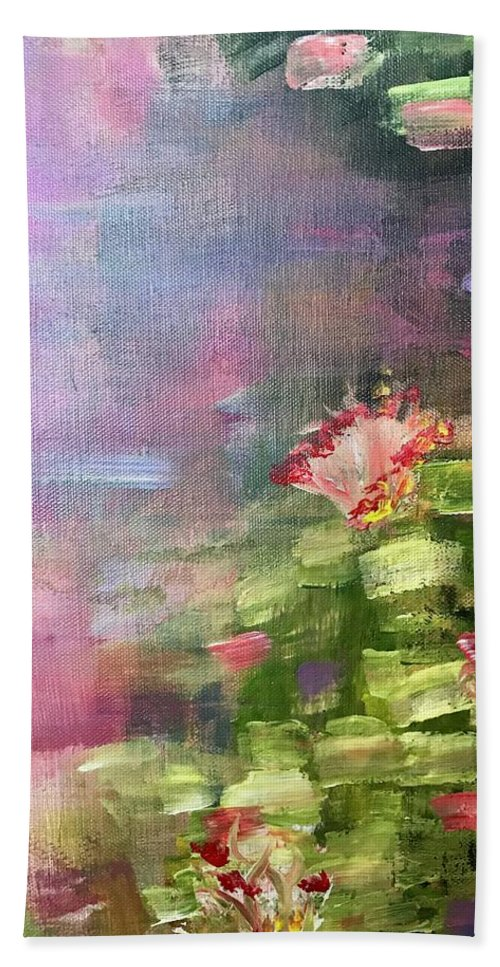 Inspired By Monet Bath Sheet featuring the painting Pond by Katy Flach